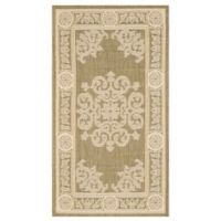 Safavieh Courtyard 2-Foot 7-Inch x 5-Foot Laila Indoor/Outdoor Rug in Olive/Natural