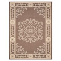 Safavieh Courtyard 6-Foot 7-Inch x 9-Foot 6-Inch Laila Indoor/Outdoor Rug in Chocolate/Natural