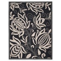 Safavieh Courtyard 8-Foot x 11-Foot Reese Indoor/Outdoor Rug in Black/Sand