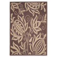 Safavieh Courtyard 8-Foot x 11-Foot Reese Indoor/Outdoor Rug in Chocolate/Natural