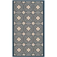 Safavieh Courtyard 2-Foot x 3-Foot 7-Inch Ember Indoor/Outdoor Rug in Beige/Navy
