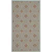 Safavieh Courtyard 2-Foot x 3-Foot 7-Inch Ember Indoor/Outdoor Rug in Brown/Aqua