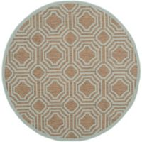 Safavieh Courtyard 5-Foot x 5-Foot Ember Indoor/Outdoor Rug in Brown/Aqua