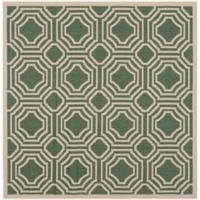 Safavieh Courtyard 5-Foot 3-Inch x 5-Foot 3-Inch Ember Indoor/Outdoor Rug in Dark Green/Beige
