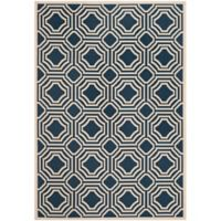 Safavieh Courtyard 6-Foot 7-Inch x 9-Foot 6-Inch Ember Indoor/Outdoor Rug in Navy/Beige