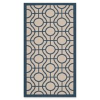Safavieh Courtyard 2-Foot x 3-Foot 7-Inch Elsie Indoor/Outdoor Rug in Beige/Navy