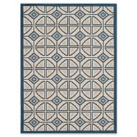 Safavieh Courtyard 2-Foot 7-Inch x 5-Foot Dulce Indoor/Outdoor Rug in Beige/Navy
