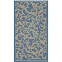 Safavieh Courtyard 2-Foot 7-Inch x 5-Foot Vivian Indoor/Outdoor Rug in Blue/Natural