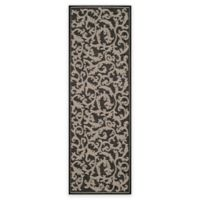 Safavieh Courtyard 2-Foot 7-Inch x 8-Foot 2-Inch Vivian Indoor/Outdoor Rug in Black/Sand