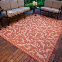 Safavieh Courtyard 4-Foot x 5-Foot 7-Inch Vivian Indoor/Outdoor Rug in Terracotta/Natural