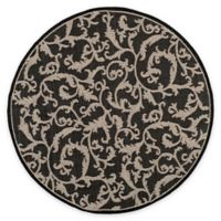 Safavieh Courtyard 5-Foot 3-Inch x 5-Foot 3-Inch Vivian Indoor/Outdoor Rug in Black/Sand