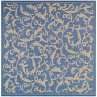 Safavieh Courtyard 7-Foot 10-Inch x 7-Foot 10-Inch Vivian Indoor/Outdoor Rug in Blue/Natural