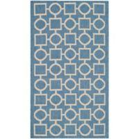 Safavieh Courtyard 2-Foot 7-Inch x 5-Foot Saylor Indoor/Outdoor Rug in Blue/Beige