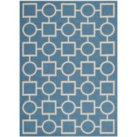 Safavieh Courtyard 4-Foot x 5-Foot 7-Inch Saylor Indoor/Outdoor Rug in Blue/Beige