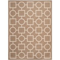 Safavieh Courtyard 5-Foot 3-Inch x 7-Foot 7-Inch Saylor Indoor/Outdoor Rug in Brown/Bone