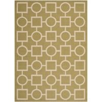 Safavieh Courtyard 5-Foot 3-Inch x 7-Foot 7-Inch Saylor Indoor/Outdoor Rug in Green/Beige