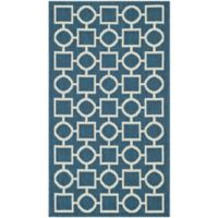 Safavieh Courtyard 5-Foot 3-Inch x 7-Foot 7-Inch Saylor Indoor/Outdoor Rug in Navy/Beige
