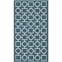 Safavieh Courtyard 6-Foot 7-Inch x 9-Foot 6-Inch Saylor Indoor/Outdoor Rug in Navy/Beige