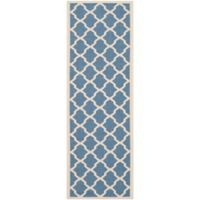 Safavieh Courtyard 2-Foot 3-Inch x 8-Foot Evie Indoor/Outdoor Rug in Blue/Beige