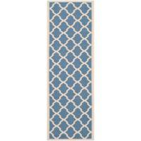 Safavieh Courtyard 2-Foot 3-Inch x 12-Foot Evie Indoor/Outdoor Rug in Blue/Beige