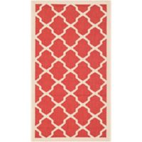 Safavieh Courtyard 2-Foot 7-Inch x 5-Foot Evie Indoor/Outdoor Rug in Red/Bone