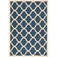 Safavieh Courtyard 6-Foot 7-Inch x 9-Foot 6-Inch Evie Indoor/Outdoor Rug in Navy/Beige