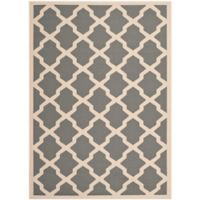Safavieh Courtyard 6-Foot 7-Inch x 9-Foot 6-Inch Evie Indoor/Outdoor Rug in Anthracite/Beige
