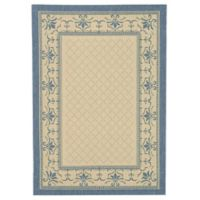 Safavieh Courtyard 6-Foot 7-Inch x 9-Foot 6-Inch Sofia Indoor/Outdoor Rug in Natural/Blue