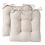 Reversible Tufted Chair Pads in Beige (Set of 2)