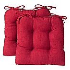 Reversible Tufted Chair Pads in Burgundy (Set of 2)