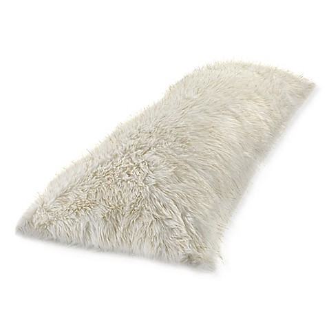 Metallic Faux Fur Body Pillow Cover In White Gold Bed