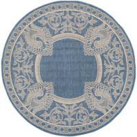 Safavieh Courtyard 6-Foot 7-Inch x 6-Foot 7-Inch Nova Indoor/Outdoor Rug in Blue/Natural