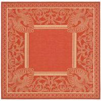 Safavieh Courtyard 6-Foot 7-Inch x 6-Foot 7-Inch Nova Indoor/Outdoor Rug in Red/Natural