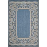 Safavieh Courtyard 8-Foot x 11-Foot Nova Indoor/Outdoor Rug in Blue/Natural