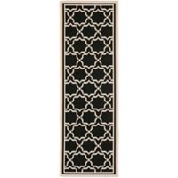 Safavieh Courtyard 2-Foot 3-Inch x 6-Foot 7-Inch Mariam Indoor/Outdoor Rug in Black/Beige