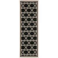 Safavieh Courtyard 2-Foot 3-Inch x 8-Foot Mariam Indoor/Outdoor Rug in Black/Beige