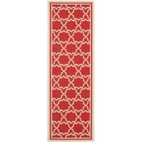 Safavieh Courtyard 2-Foot 3-Inch x 10-Foot Mariam Indoor/Outdoor Rug in Red/Bone
