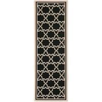 Safavieh Courtyard 2-Foot 4-Inch x 12-Foot Mariam Indoor/Outdoor Rug in Black/Beige