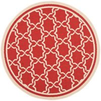 Safavieh Courtyard 6-Foot 7-Inch x 6-Foot 7-Inch Mariam Indoor/Outdoor Rug in Red/Bone