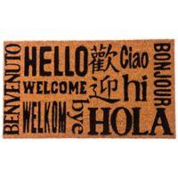 Multilingual Welcome 16-Inch x 28-Inch Coir Door Mat