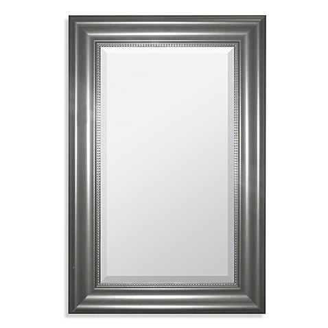nickel framed bathroom mirror rectangular brushed nickel wall mirror bed bath amp beyond 19740