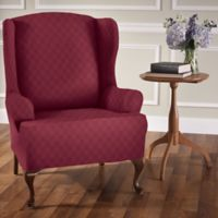 Newport Wingback chair Stretch Slipcover in Brick