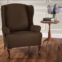 Newport Wingchair Stretch Slipcover in Chocolate