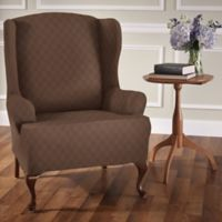Newport Wingchair Stretch Slipcover in Cocoa