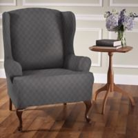 Newport Wingchair Stretch Slipcover in Grey
