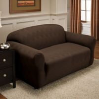 Optic Loveseat Stretch Slipcover in Chocolate
