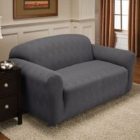 Optic Loveseat Stretch Slipcover in Grey