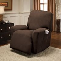 Optic Recliner Stretch Slipcover in Chocolate