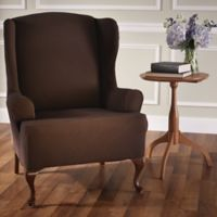 Optic Wing Chair Stretch Slipcover in Chocolate