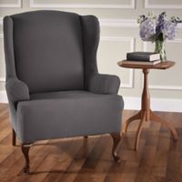 Optic Wing Chair Stretch Slipcover in Grey